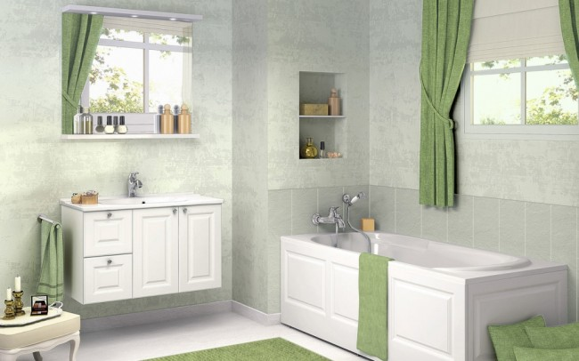 Artistic Bathroom Concept in a Green Theme