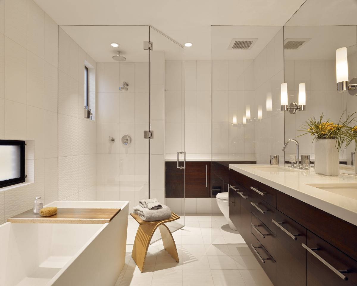 Stylish modern bathroom design with white finish