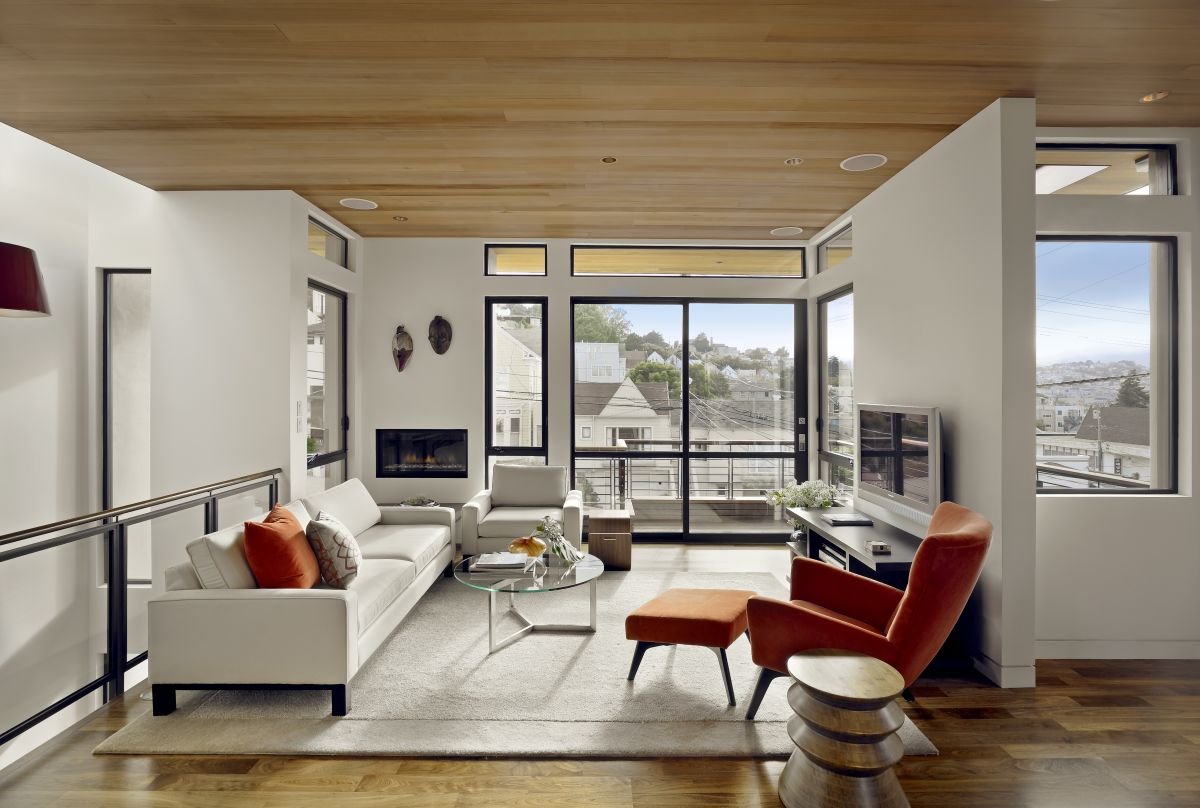Interior Exterior Plan | Simplistic wooden and white themed living room
