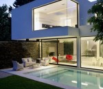 Elegant exterior for large spaces with swimming pool