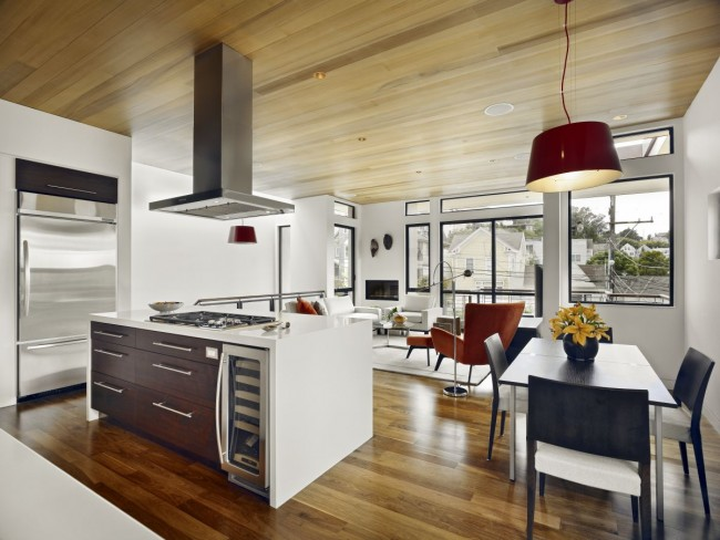 Kitchen interior theme in wooden and white finish