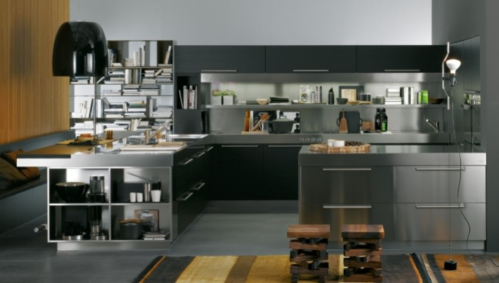 Steel finish theme for kitchen interiors