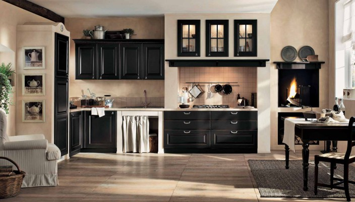 Classic kitchen in black and cream finish
