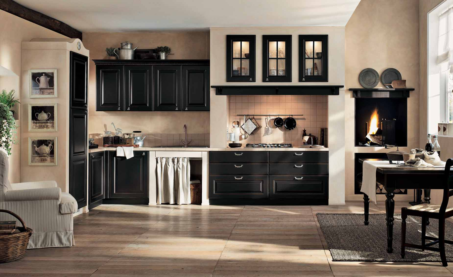 Interior Exterior Plan Classic Kitchen In Black And Cream Finish