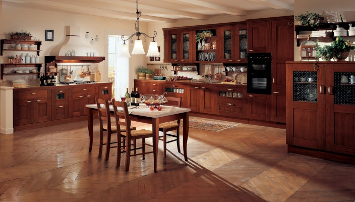Wooden themed classy kitchen interiors