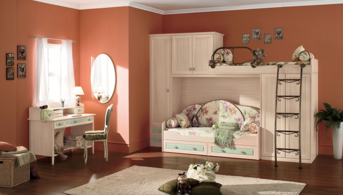 Ideal bedroom design for kids in white finish