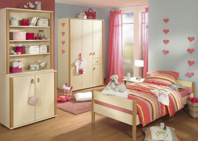 Rose and white themed colored interiors for girl's room