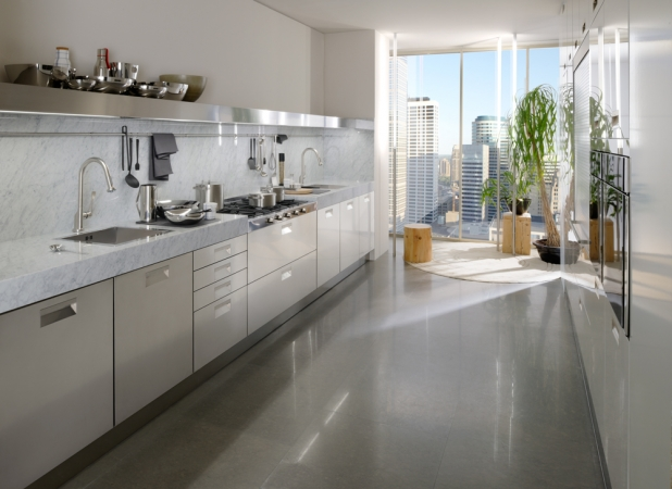 Functional kitchen design in a steel finish