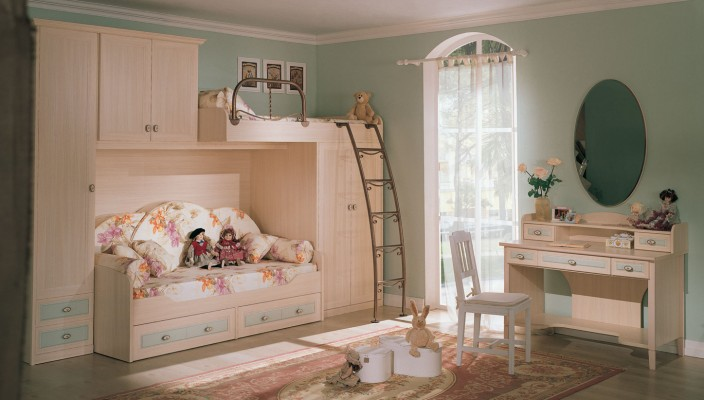 Stylish bedroom for kids in classic style