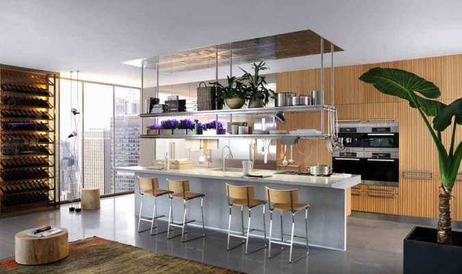 Classy modern kitchen interiors in wooden finish