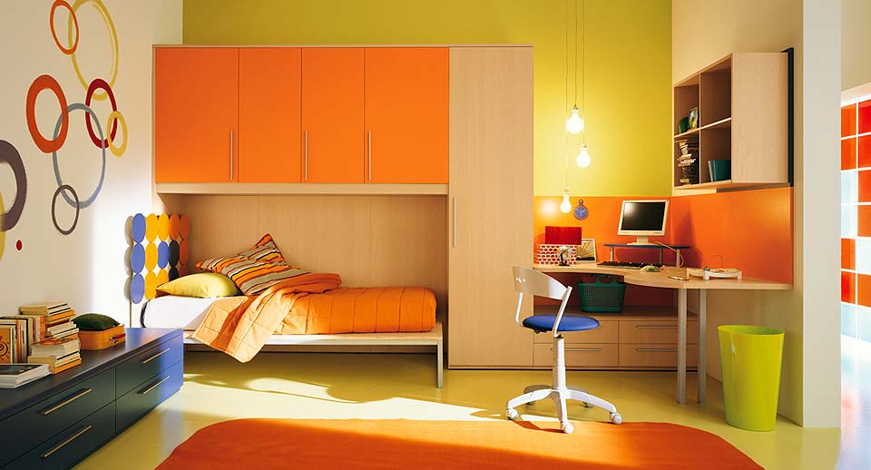 Interior exterior plan orange themed interior for kids for Interior design for kid bedroom