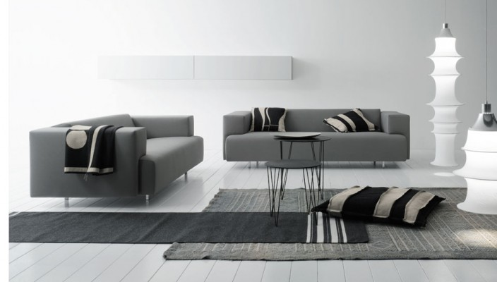 Grey and white based living room design