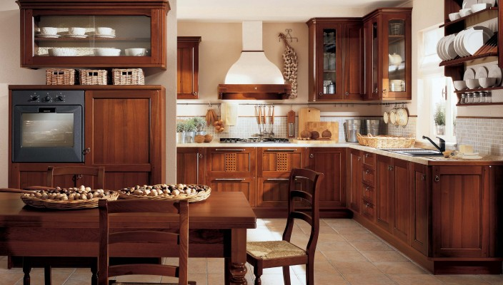 Wooden themed kitchen interior concept
