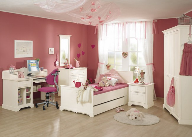 Colorful white and pink bedroom for girls