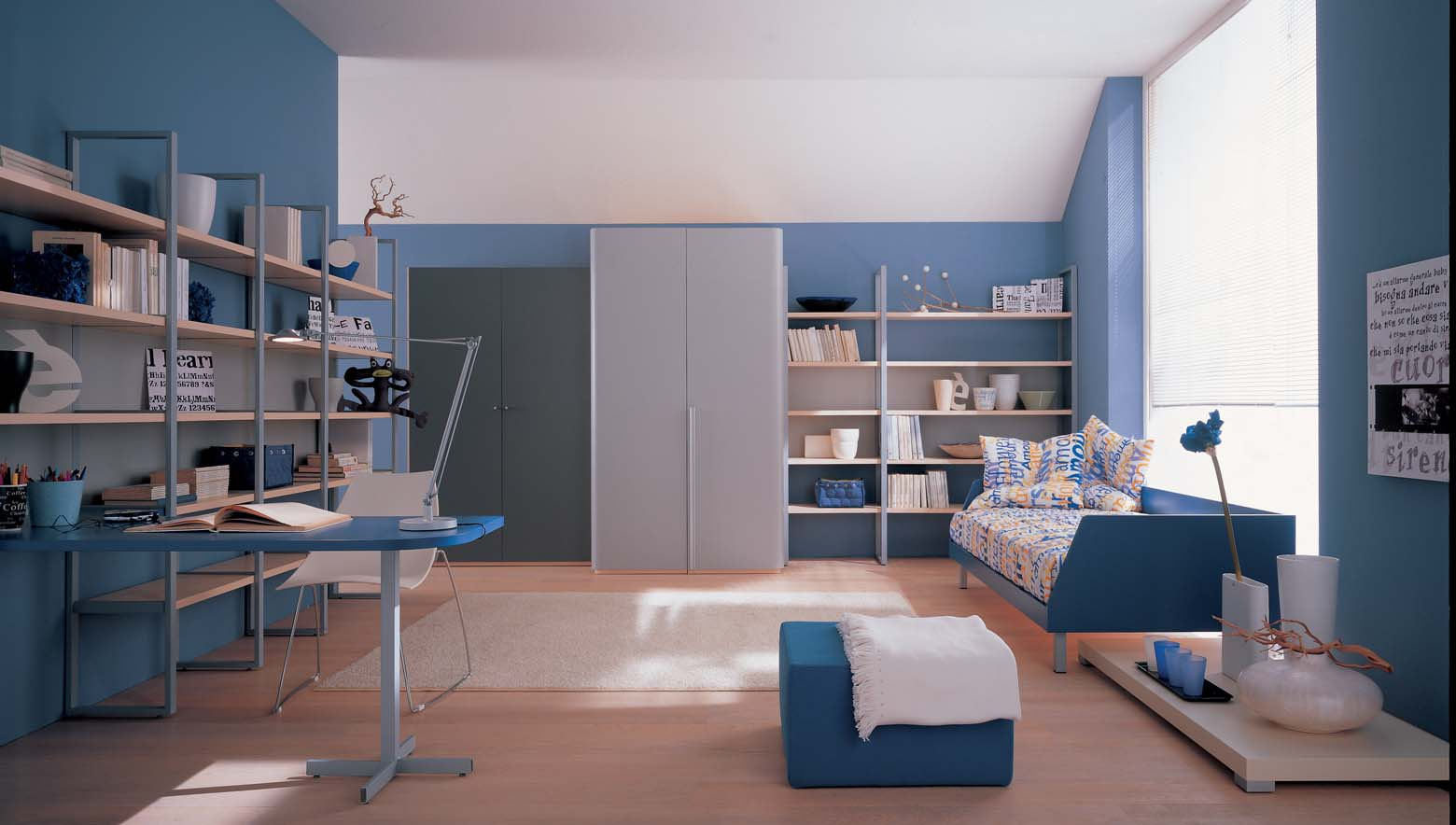 Interior exterior plan blue theme for kid s study room for Interior designs study room
