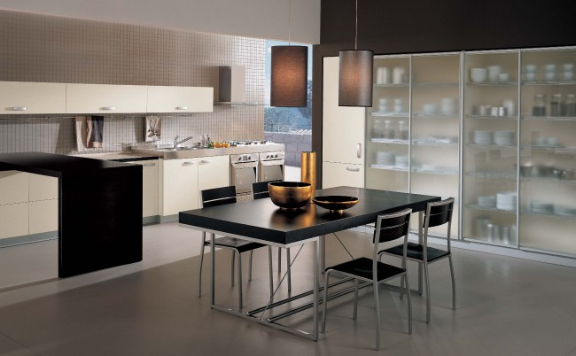 Modern kitchen interior theme with black finish