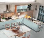 Simple light blue kitchen interior