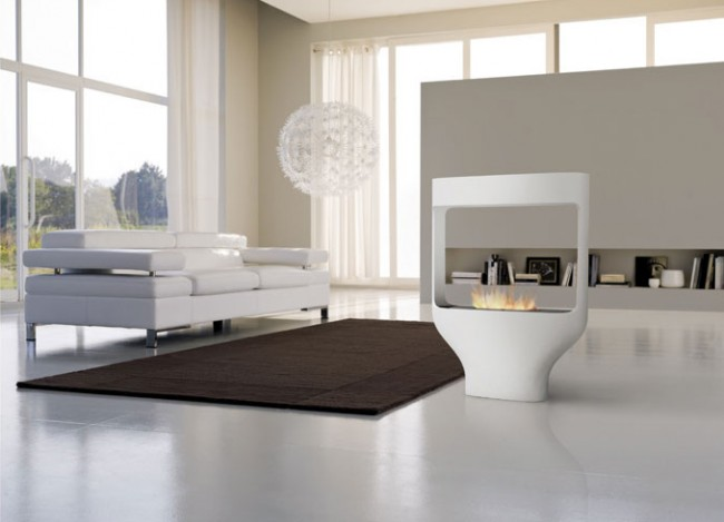 White finish fireplace for modern home
