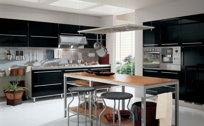 Stylish black finish kitchen interior