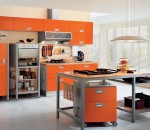 Orange themed idea for modern kitchen