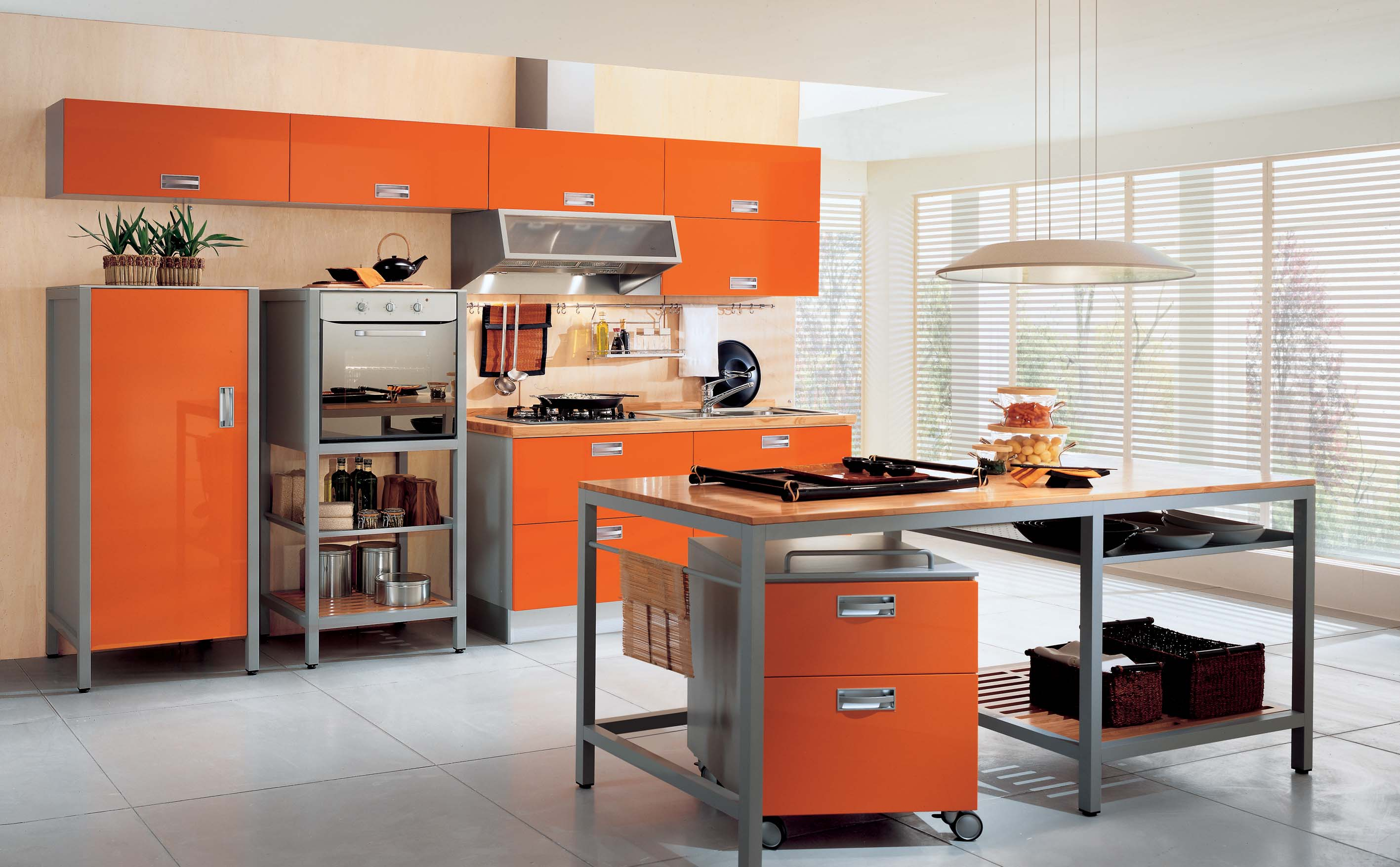 Interior Exterior Plan | Orange themed idea for modern kitchen