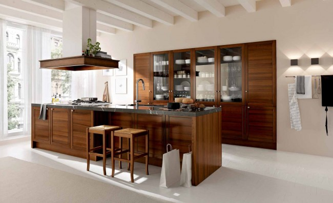 Classic modern kitchen in wood