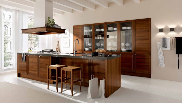 Interior exterior plan classic modern kitchen in wood for Modern classic kitchen design ideas