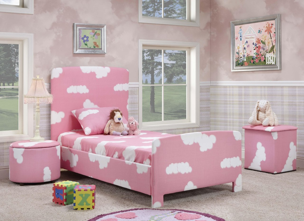 Interior exterior plan pink bedroom for a little girl - Little girls bedrooms ...