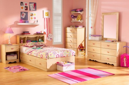 Wooden Pink Kids Bedroom Interior Interior Exterior P