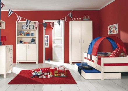 Kids  Design on Bed In Solid White Spruce  Half Tent In Blue Red With Trundle Bed
