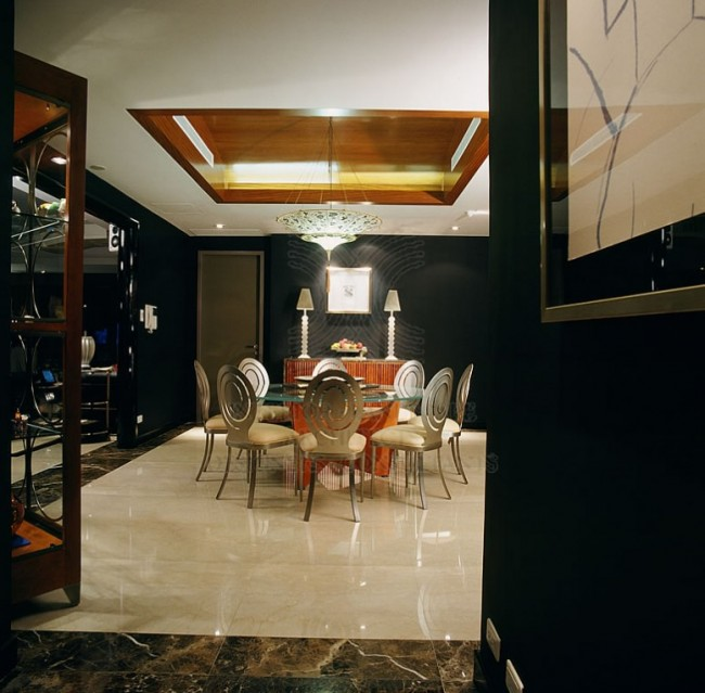 Dining Room Dark Walls Interior