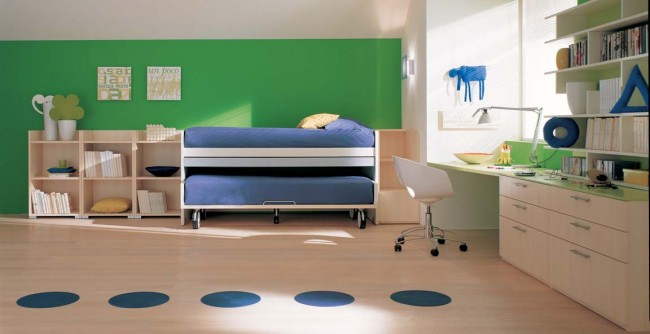 Green Bedroom with Bed Rollers