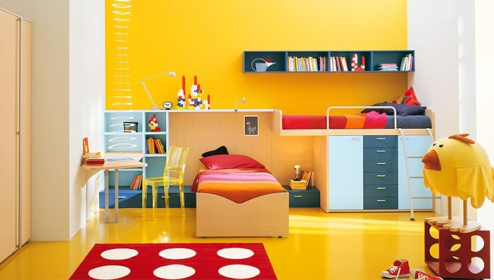 Polka Dots Yellow Kids Room Design