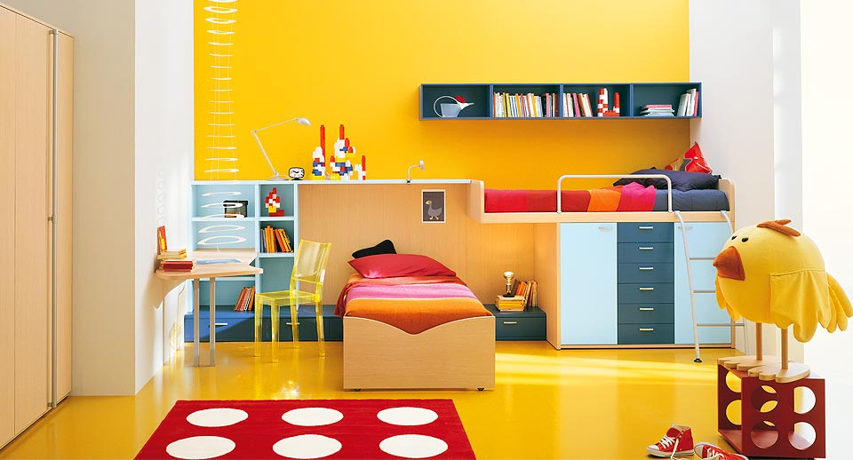 Interior exterior plan polka dots yellow kids room design for Interior designs for kids