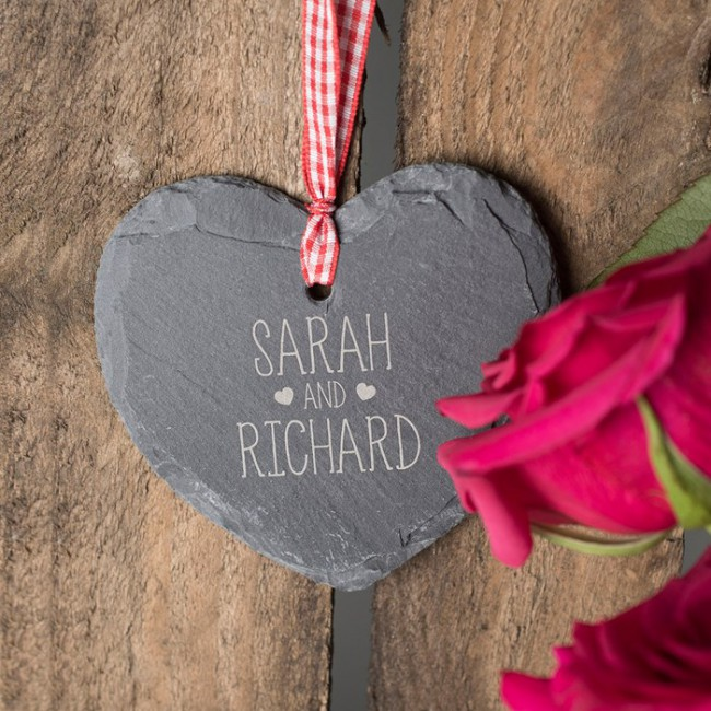 personalised heart shaped slate