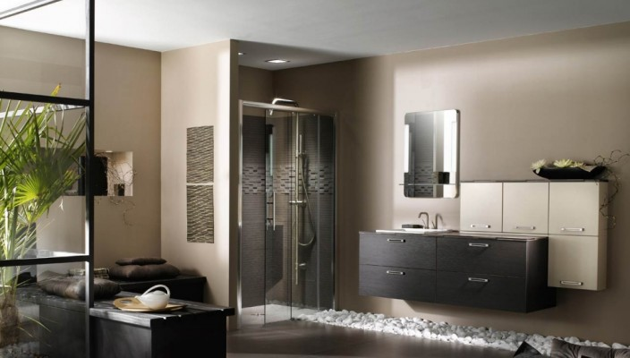 Bathroom Concept with Vanity Designed In Brown Layered Countertop