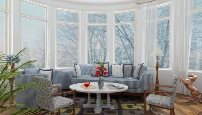 White living room concept with balanced furniture