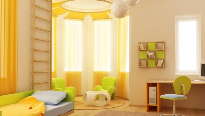 Bedroom Idea in Yellow and Green for Kids