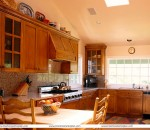 A beautiful dream kitchen in wooden style