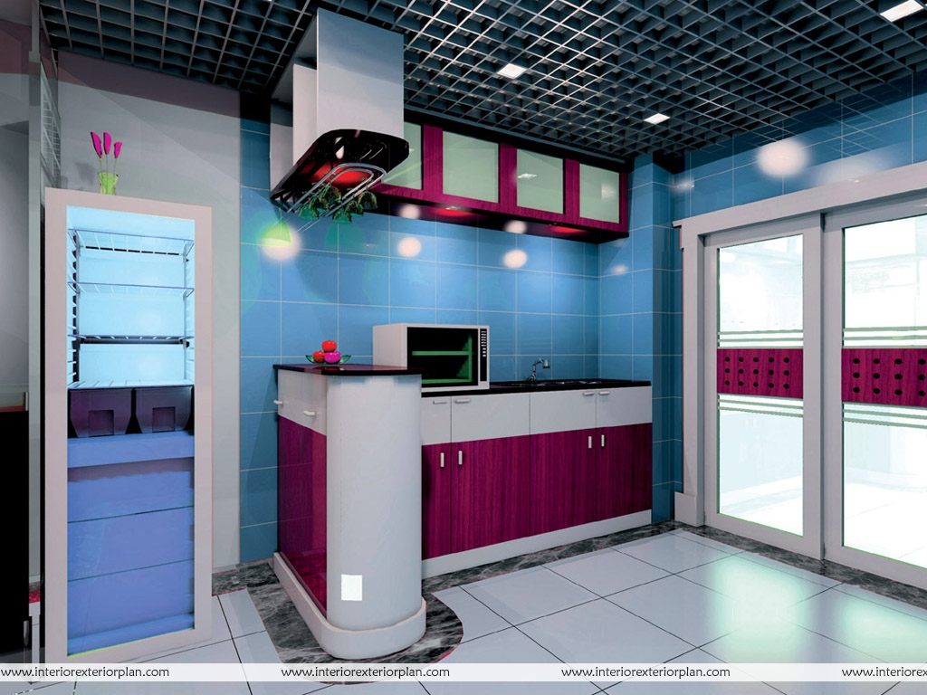 Interior Exterior Plan Blue Kitchen Interior Design A