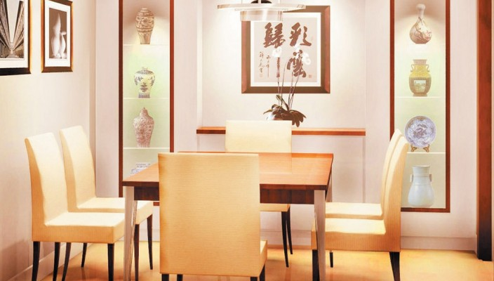 Dining room boasting of luxury and high class
