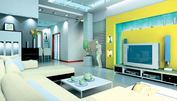 Pleasant Interior with White and Yellow