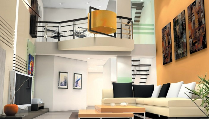 High-ceiling living room making a statement in high design