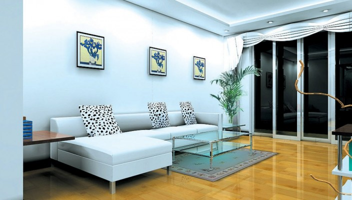 Simple beauty of spacious living room