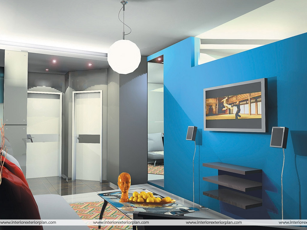 Interior Exterior Plan Blue And Gray