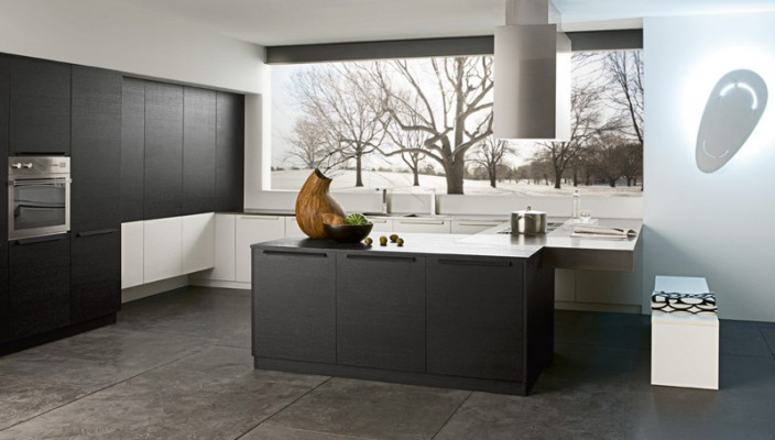 Kitchen with a Picturesque View and Graceful Color Scheme