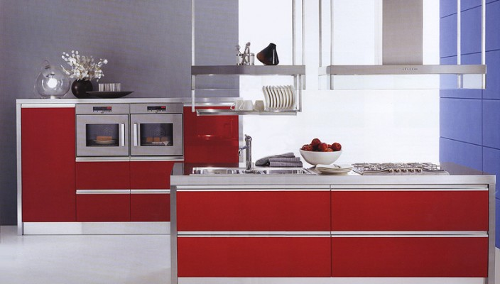 Paint your kitchen cabinets red for an edgy and modern look