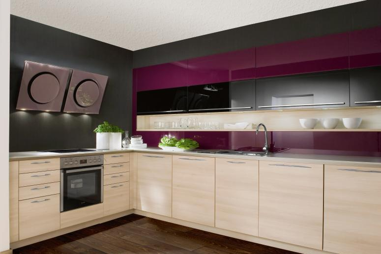 Interior Exterior Plan Grey And Purple Themed Kitchen