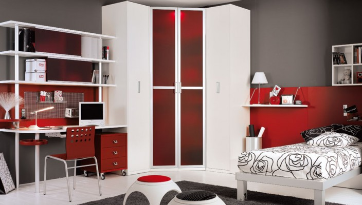 Red and grey modern teen room
