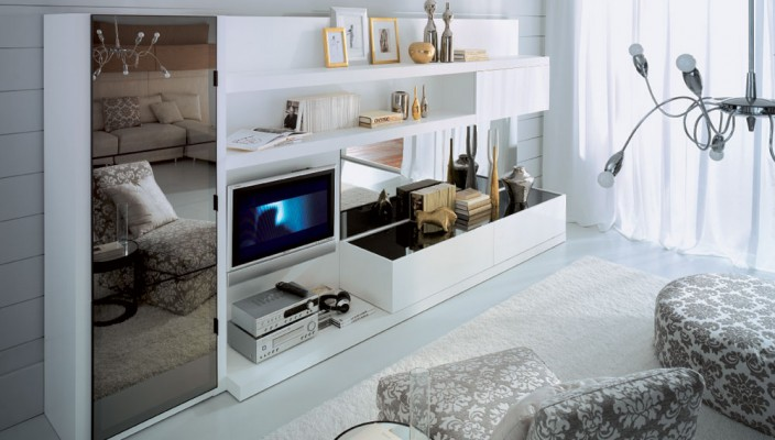 White Living Room with Mirror